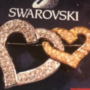 Authentic Swarovski Double Hearts pin